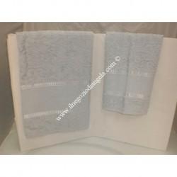Coppia di asciugamani di spugna per punto croce art. Stella col. grigio perla