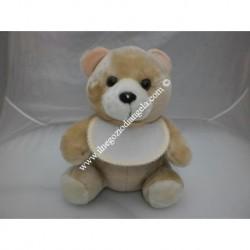 Pupazzo peluche orso con bavaglino ricamabile a punto croce bordo giallo