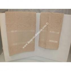 Coppia di asciugamani di spugna per punto croce art. Stella col. beige scuro