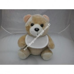 Pupazzo peluche orso con bavaglino ricamabile a punto croce bordo bianco