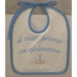 Light blue Birthday cotton bib