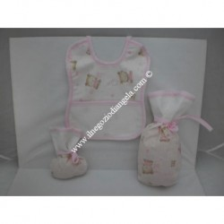Set ricamabile con tela aida: portabiberon, portaciuccio e bavaglino col. rosa