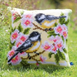 Cuscino uccellini e fiori PN-0143499 VERVACO