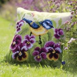 Cushion - Blue Tit on Pansies