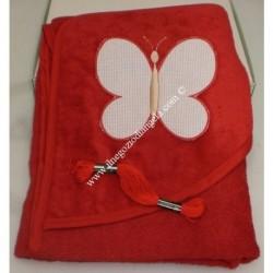 "Bathrobe Christmas Red Triangle "" Butterfly "" with Aida to stitch cross-stitch"