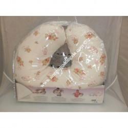Cuscino da allattamento colore panna con fantasia rosa