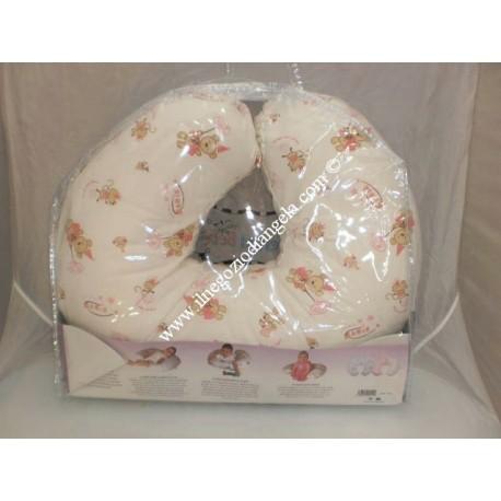 Beige and pink nursing pillow