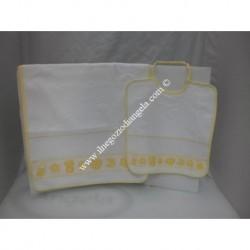 Set asilo giallo bavaglino + asciugamano con inserto in tela aida da ricamare a punto croce