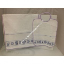 Asylum violet bib + towel insert in Aida by cross-stitch