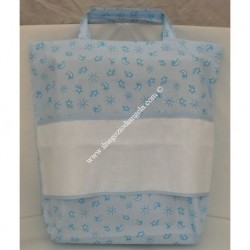 Light blue Nursery bag carrier with Aida for embroidery, cross stitch