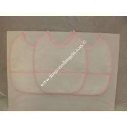 3 Bavaglini serie GIGIO con tela aida da ricamare a punto croce col. rosa