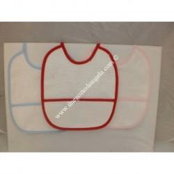 3 Bavaglini serie GIGIO con tela aida da ricamare a punto croce col. rosa, cielo, rosso