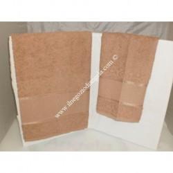 Coppia di asciugamani di spugna per punto croce art. Stella col. TORTORA