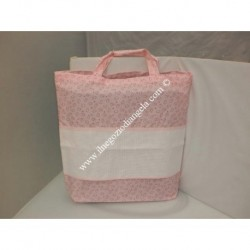 Pink Nursery bag carrier with Aida for embroidery, cross stitch