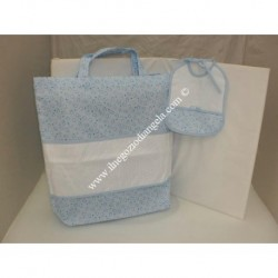 Light blue Set with Nursery bag carrier with Aida and bib for embroidery, cross stitch