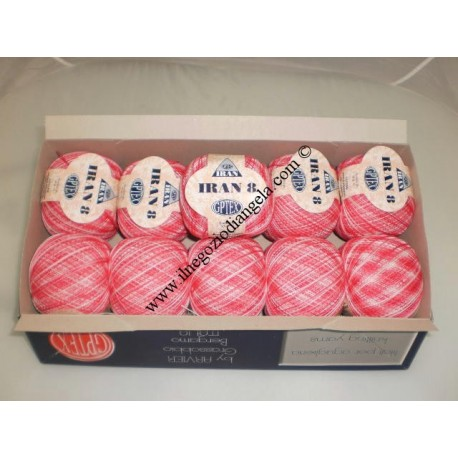 Cotone perlato IRAN colore ROSA sfumato n8 confezione da 500 gr.