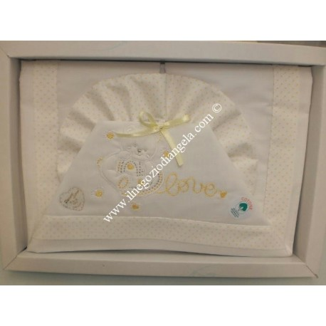 Sheet for bed child 120x180 white and yellow color