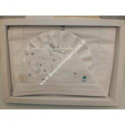 """Lenzuolino bianco con rifinitura colore grigio a pois per lettino 120x180 cm, """" Love """""""