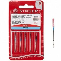 Aghi macchina da cucire Singer, per tessuti di cotone cat. 2020 n 90 conf. da 5 aghi