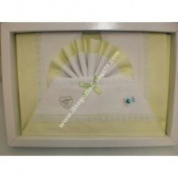 Lenzuolino letto 120x180 cm con tela aida, piquet verde acido