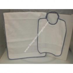 Asylum BLUE bib + towel insert in Aida by cross-stitch