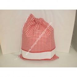 Sacchetto porta tutto art. ADAMO, colore rosso, con striscia in tela aida ricamabile a punto croce