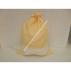 Bag brings everything yellow color, with cross stitch patterned aida canvas strip