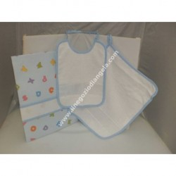 Complete 3 pieces for asylum: bib, towel and bag, light blue with band in Aida by cross-stitch