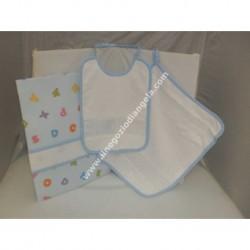 Completo 3 pezzi art. ALFABETO per asilo: bavetta, asciugamano e sacchetto, colore AZZURRO con banda in tela aida da ricamare a