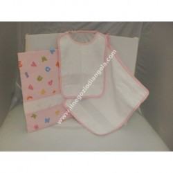 Complete 3 pieces for asylum: bib, towel and bag, pink with band in Aida by cross-stitch
