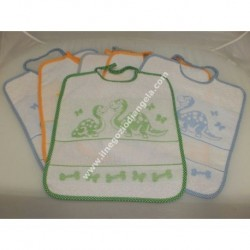 6 bib, asylum seekers with aida insert in embroidered cross stitch art. BIBERON unisex
