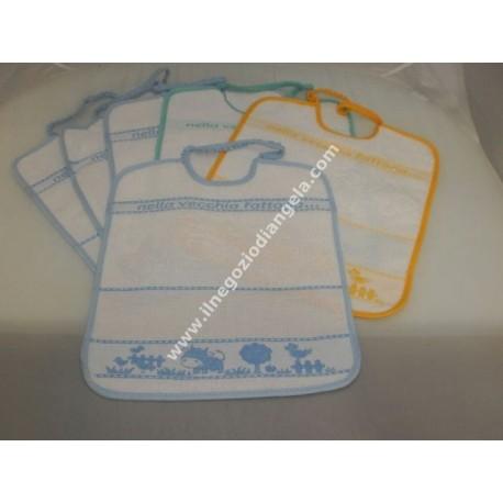 6 bib, asylum seekers with aida insert in embroidered cross stitch art. BIBERON unisex