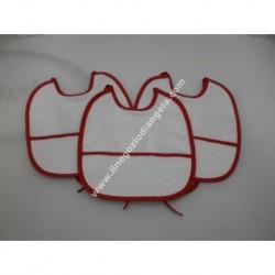 3 Bavaglini serie GIGIO con tela aida da ricamare a punto croce col. bianco con bordo rosso, ideali per Natale