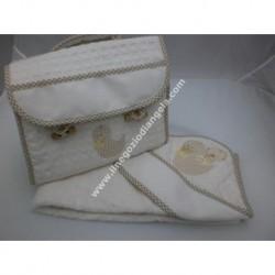 Coordinato ricamabile: borsa portatutto ed accappatoio art. BA272 col. beige con fascia da ricamare a punto croce