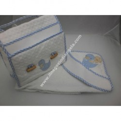 Embroidered coordinates: storage bag and bathrobe art. BA272 light blue color