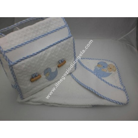 Embroidered coordinates: storage bag and bathrobe art. BA272 light blue color