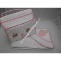 Coordinato ricamabile: borsa portatutto ed accappatoio art. BA272 col. rosa con fascia da ricamare a punto croce