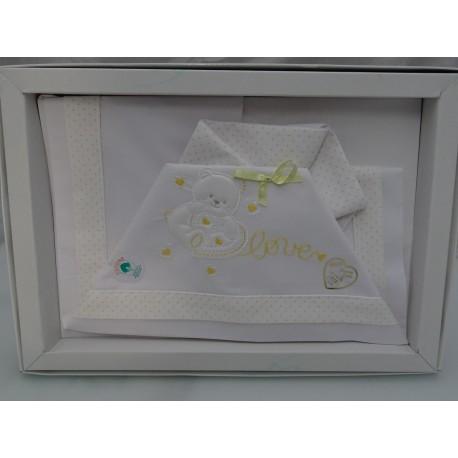"""Lenzuolino per culla 90x120 cm, colore bianco e giallo """" Orsetto e cuore """""""
