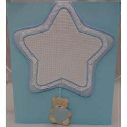 Stitchable birth light blue Ribbon