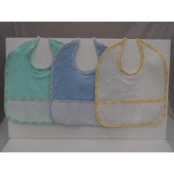 3 Bibs serious DUDU with Aida by cross-stitch light blue, green and yellow