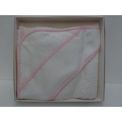 Accappatoio a triangolo, con banda in tela aida ricamabile a punto croce, rosa
