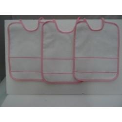 3 Bavaglini serie NEVE con tela aida da ricamare a punto croce col. rosa