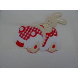 """Copertina in pile da lettino """"Coniglietto"""" 105x148 cm, colore panna, ricamabile a punto croce con inserto in tela aida"""