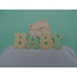 """Copertina in pile da lettino """"Baby"""" 105x148 cm, colore verde, ricamabile a punto croce con inserto in tela aida"""
