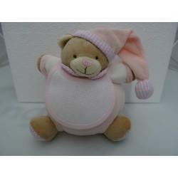 Pupazzo peluche ORSETTO con bavaglino ricamabile a punto croce col. rosa h. 20 cm