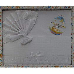 Lenzuolino da ricamare 83x120 cm, bianco con bordo aida celeste