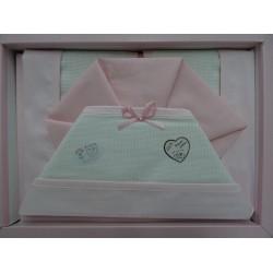 Lenzuolino letto 120x180 cm con tela aida, piquet rosa