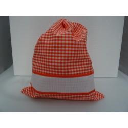 Sacchetto porta tutto art. ADAMO, colore arancione, con striscia in tela aida ricamabile a punto croce