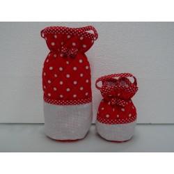 Set ricamabile con tela aida: portabiberon e portaciuccio col. rosso