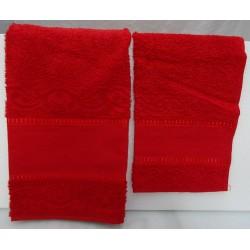 Coppia di asciugamani di spugna per punto croce art. Stella col. rosso